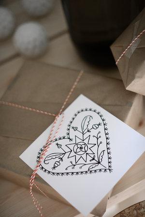 5-pack julkort ALLMOGEJUL 15x15 cm svart