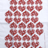 kökshandduk HJÄRTER röd 50x70 cm